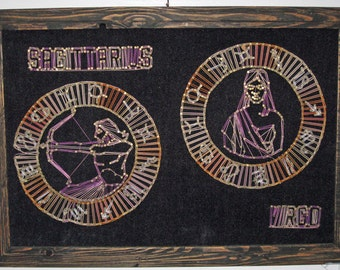 """The String Theory of Horoscopes - Vintage 1960s or Early 1970s Zodiac String / Yarn Art - Sagittarius and Virgo - 15""""x19"""""""