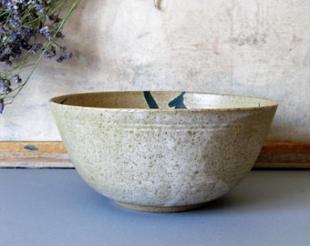 Vintage stoneware decorative bowl, mixing bowl, salad bowl, Asian style pottery decor, minimalist decor