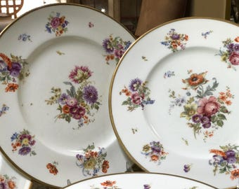 Antique Dinner Plates/6 Cauldon Plates/Hand Painted Floral Sprays/ Soft Colors/10 Plus Inches/Gold Trim/Spring Motif/Wedding Gift