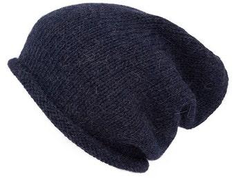 Blue Marl Alpaca Slouchy beanie, hand knitted, 8 colours
