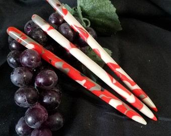 acrylic santa camo hair stick (choose one or more)