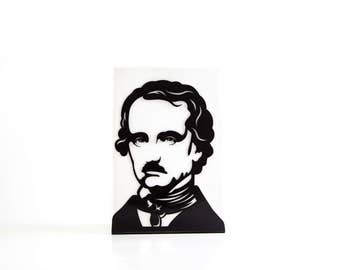 One Decorative bookend Edgar Allan Poe // modern functional decor for the smartest books // FREE SHIPPING // perfect housewarming gift