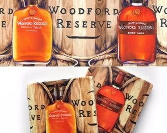 Woodford Bourbon Lovers Gift Set; barware drinkware, wall art decor print, hostess wedding man cave; stock the bar, whiskey coaster, him