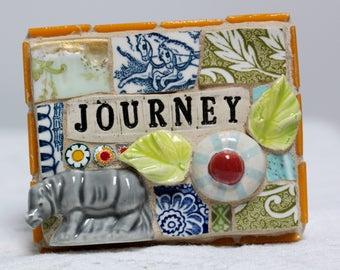 Journey, Rhinoceros, mosaic, pique assiette, mosaic art