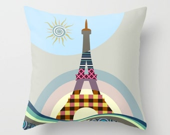 Eiffel Tower Pillow, Eiffel Tower Decor, Eiffel Tower Print, Eiffel Tower Painting, Paris Print, Paris Decor, Decorative Pillow