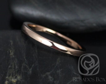 Rosados Box 14kt Rose Gold Matching PLAIN Band to Skinny Flora Wedding Band