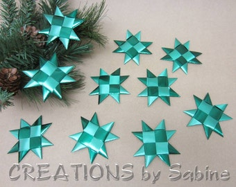 "Flat Stars, Green Christmas Decoration Ribbon Star Set of 10, 3.25"" Origami Table Decor Folded Satin Shiny Froebel READY TO SHIP (118/119)"