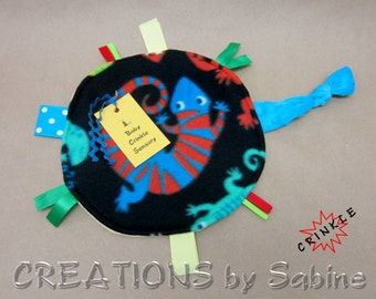Round Baby Crinkle Sensory Toy, Tag Blanket Tag Security Blankie Ribbon Lizard Critter Blue Yellow Boy Shower Gift Idea READY TO SHIP (275)