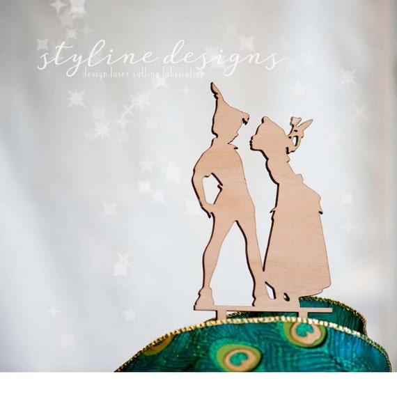 peter pan and wendy wedding cake topper pan and wendy cake topper disney inspired humor cake 18306