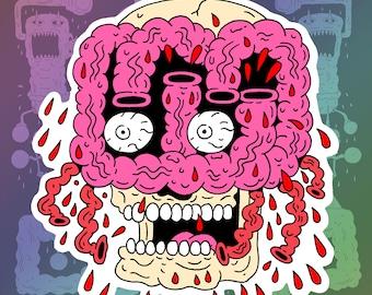 """Gut Face Skull Vinyl Sticker 3.5"""" x 4"""""""