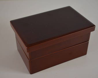 Japanese lunch box 'bento bako' for tea ceremony, vintage urushi lacquerware ochasuke bento bako, two tiered