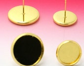 30pcs Gold Plated 6mm / 8mm / 10mm / 12mm / 14mm / 16mm/ 18mm  Brass Earring Posts With Round Pad