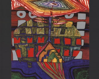 Friedensreich Hundertwasser-The Eye and the Beard of God-1989 Poster