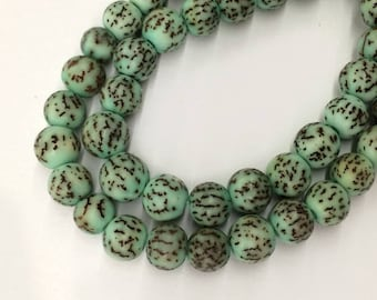Dyed Salwag Nut Beads, Teal, 8mm Round - 16 inch Strand - eS029-8