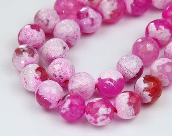 Pink and White Crackle Agate Beads, 10mm Faceted Round, 15 inch strand - eGF-AG766-10