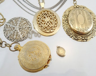 FREE Shipping Vintage Locket Pendant Charm Lot Chain Engraved Steampunk Victorian Solid Perfume Floral Filigree Photo Keepsake Pocket watch