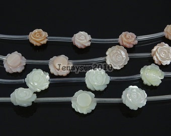 Natural Pink White Mother Of Pearl MOP Shell Rose Flower Carved Spacer Beads  for Jewelry Making Crafts