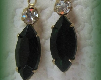 2 Stone Crystal Emerald Green 23MM Brass Rhinestone Navette 1 Ring Drop