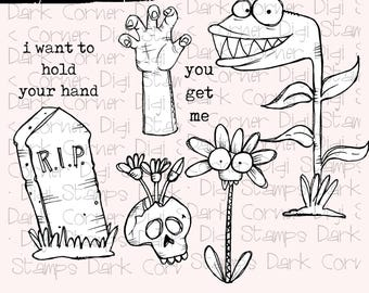 Zombie Accessory Pack - 8 digi stamp set in jpg and png files