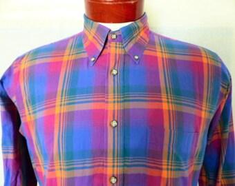 vintage 80s Nordstrom bright blue purple pink orange shadow plaid check pattern long sleeve button up collar shirt button down collar medium