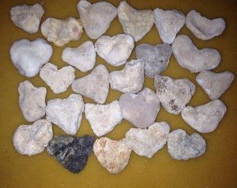 26 Medium Heart Shaped Beach Rocks Bridal Shower  Gifts Home Decor, Aquariums, Weddings C13