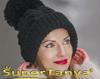 SUPERTANYA hand knitted soft wool hat with giant pom pom in black by SuperTanya