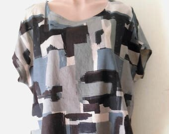 Japanese Linen / Cotton Blend Top - Grey Size XL