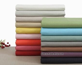 Solid Linen Cotton Fabric, Plain Cotton Linen Fabric Bundle - 1/2 yard