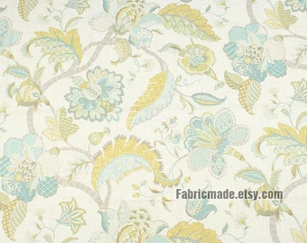 Large Flower Linen Fabric, Heavy Thick Floral Cotton Linen Blend Fabric For Upholstery - 1/2 Yard
