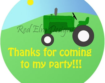 "Tractor Stickers - Sheet of 20 - 2"" Round.  Tractor Birthday Party Favors.  2 Inch Round Farm Tractor Stickers"