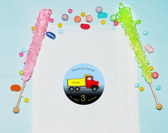 Truck Birthday Favor Bags, Personalized Treat Bags, Dump Truck Birthday Party Favors, Truck Party Bags, Treat Favor Bags