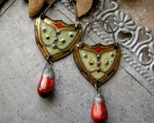RESERVED SOLD mixed metal mossy bleeding heart tin earrings ceramics, mixed media jewelry, assemblage earring, scorchedearth, AnvilArtifacts