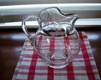 Vintage etched pitcher large glass Czech made pitcher gallon size pitcher French Country farmhouse cottage chic retro chic glass