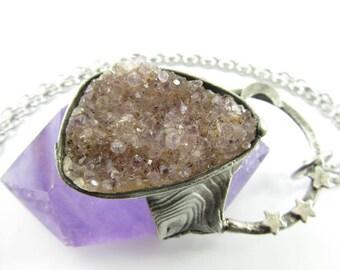 nimue - druzy amethyst crystal pendant with crescent moon & stars