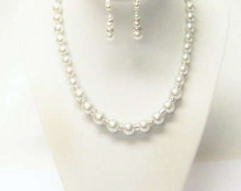 Silver Glass Pearl w/Rhinestones Choker Necklace/Earrings Set