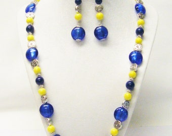Cobalt Blue Disc Foil Lined w/Yellow Glass Bead Necklace/ Bracelet/Earrings Set