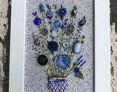 Antique Button Bouquet in Ceramic Flower Pot Button