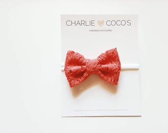 Baby/Girls Coral Lace Bow Headband, Coral Lace Hair Bow Clip, Coral Lace Hair Bow by charliecocos