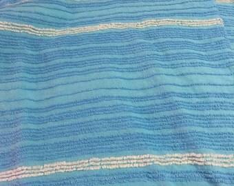 Vintage Turquoise Blue  Chenille Bedspread Fat Quarter