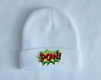 Beanie White Colour Patch POW Iron Patch Folded Hat Street Style Unisex Accessories Winter Autumn