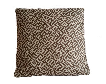 Knoll Eclat Weave Brown and Cream Geometric Pattern Pillow Cover (B2)