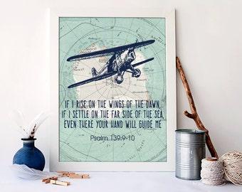 If I rise on the wings of the dawn, Bible Christian Decor, Christian Nursery Wall Decor, Airplane Vintage Art, Plane Nursery Boy Art, D-1272