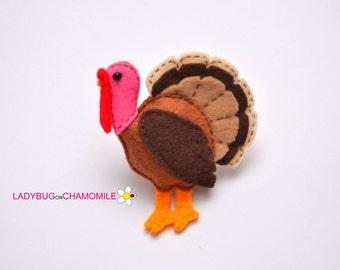 Felt TURKEY, stuffed felt Turkey magnet or ornament, Turkey toy, Domestic animals,Farm animals, Nursery decor,Turkey magnet,Cute Turkey