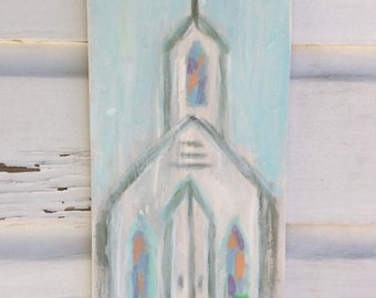 Chapel Painting/Church Art/Abstract Seaside Chapel Painting/Coastal Cottage Art
