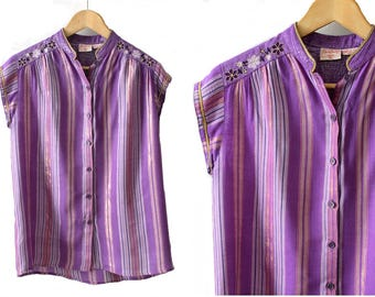 1970s Indian Gauze  purple Tunic René Derhy small / 70s purple & gold stripes tunic /70s summer hippie  top