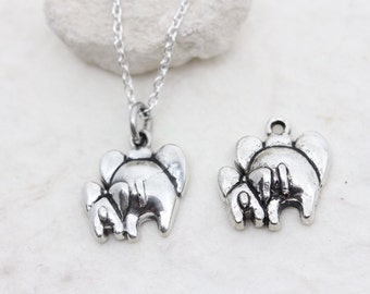 Silver Elephant necklace, elephant pendant, sterling silver elephant charm. Elephant Jewelry. Mother daughter, mother son. sisters