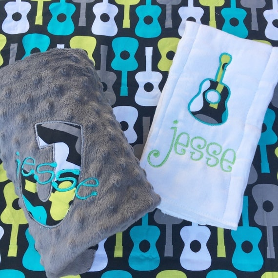 Personalized Burp Cloth and Baby Blanket Combo - Guitars