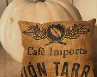 Coffee Imprint Burlap Throw Pillow