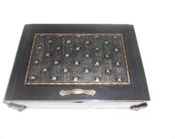 Mens Jewelry Box, Custom Cigar Box Men's Valet, Black and Gold Studded Leather, Valuable Box, Stash Box, Authentic Cigar box, Leather, Color