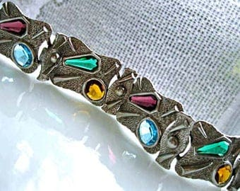 Glass Stones Silver Bracelet, Rainbow Gem Colors, Surreal Brutalist Panel Links, Mid Century Modern Abstract Art Mixed Shapes, Raised Design